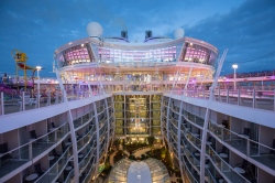 "Royal Caribbean International's Harmony of the Seas, the world""s largest and newest cruise ship, previews in Southampton.